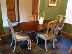 Refurbished pedestal dining set using DIY chalk paint, Minwax Wood Finish in Dark Walnut and canvas drop cloth with hand painted grain sack stripes in green