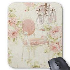 French Budoir  Vintage Pink Floral Chandelier Mousepad