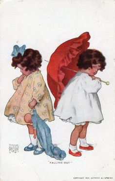 """An Original 1911 Bessie Collins Pease Postcard """" Falling Out"""" Published in New York by Reinthal and Newman."""