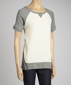 This Faith and Joy Gray & Ivory Raglan Top by Faith and Joy is perfect! #zulilyfinds