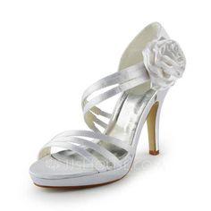 Wedding Shoes - $63.99 - Women's Satin Cone Heel Platform Sandals With Satin Flower (047024511) http://jjshouse.com/Women-S-Satin-Cone-Heel-Platform-Sandals-With-Satin-Flower-047024511-g24511