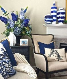 Looking to add a pop of color to your neutral decor? Indigo is a here to stay and a trend color for Use the entire range of periwinkle to navy to dress up you interiors and is a perfect addition to any decor style. Add interest to your fireplace man Blue And White Living Room, Living Room Decor Blue, Blue Living Room Furniture, 4 Piece Living Room Set, Indigo Furniture, Decor Room, Furniture Decor, Blue Rooms, White Decor