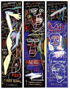 JJean-Michel Basquiat (1960-1988) pintor EU(neoexpresionis) nació en Brooklyn, el 22 12 1960. Pero a partir de 1980, siendo 1 vagabundo, comenzó a dedicarse a la pintu. Poseía curiosidad intelectual y sentía fascinación x el expresionismo abstrac, x los trazos gestuales de F.Kline, x los 1ros trabajos de Pollock, x las pinturas con figuras de De Kooning y x las caligrafías de Twombly, junto a sus raíces haitianas y portorriqueñas, le llevó a tener 1gran dominio del grafismo expresivamen…