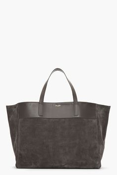 SAINT LAURENT Dark grey suede Leather-trimmed bo shopper tote...yum!