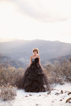 Photography: Amanda K Photography - amandakphotoart.com Styling, Dresses + Bouquet: Simple Marie Styling - simplemarie.com/  View entire slideshow: Our Favorite Black Gowns  on http://www.stylemepretty.com/collection/765/