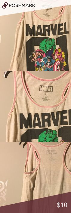 """MARVEL racerback tank MARVEL super hero character tank. Racerback style pictures your favorite Avengers! Beige color with pink contrast stitching. Fabric content: 85% Polyester/15% Flax     Measurements- length (from shoulder) 22 1/2"""", bust 18"""" Marvel Tops Tank Tops"""