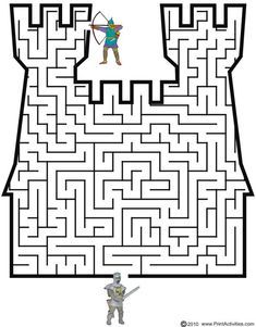 This castle shaped maze is a terrific printable medieval activity page for kids interested in the middle ages. Medieval Crafts, Medieval Party, Maze Worksheet, Worksheets, Mazes For Kids, Activities For Kids, Maze Puzzles, Knight Party, Magic Treehouse