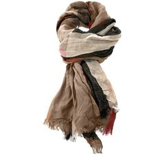 See this and similar Burberry scarves - Brown, cream and red linen and silk blend scarf from Burberry Brit featuring an enlarged check pattern and frayed edges.