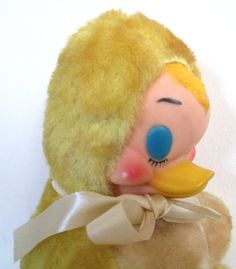 Rubber Face Plush Toy Duck Stuffed Animal by VintagePolkaDotcom