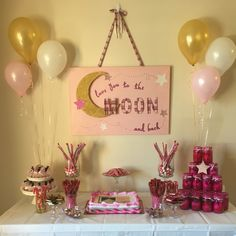 Pink and gold I love you to the moon and back baby shower