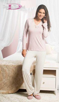 Pijama longo em viscolycra rosa/poa - Daniela Tombini