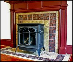 tile wood stove hearth - Google Search