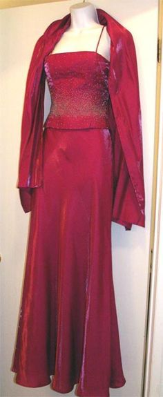 FAVIANA Beaded Gown with Shawl Fuschia Small Long Formal Prom Evening Wedding…