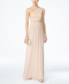 Adrianna Papell Embellished Lace One-Shoulder Gown | macys.com