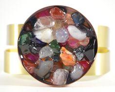 studs and pearls: diy: Stone Filled Metal Bracelet