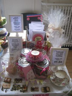 My craft table with lots of home made vintage style gifts.