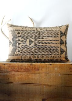 Going Hunting /  Black and Cornstalk - Modern Native Tribal Print Hand Printed Pillow / Bark Decor