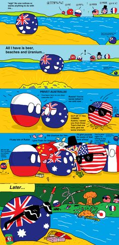 Australia becomes popular ( Australia, Russia, USA ) by Ze Tian  #polandball #countryball