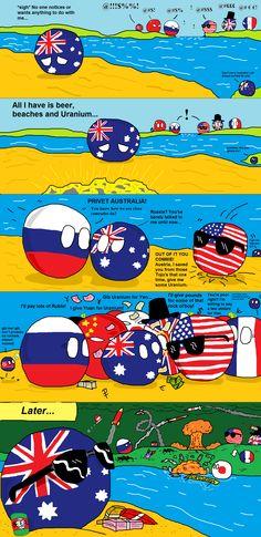 Australia becomes popular ( Australia, Russia, USA ) by Ze Tian  #polandball #countryball