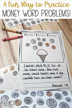 Math games 432838214187907507 - Students love counting coins and writing math word problems with this FREE and fun Money Math Walk activity! Great math game for kids learning how to count money using coins. Source by McPhersonABC Counting Money Games, Money Math Games, Money Games For Kids, Money Activities, Counting Coins, Math Games For Kids, Word Problems 3rd Grade, 2nd Grade Math, Grade 3