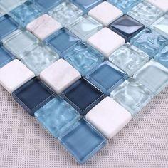 blue crystal mosaic glass mixed stone tiles for bathroom shower tiles wall mosaic kitchen backsplash hallway tile mesh backing