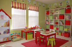 Interior : Sweet Style Playroom Idea with Green Lime Wall Paint Color and Wall Mounted White Shelves also Cute Bookcase and Small Square Red Carpet Area also Colorful Cushion and Glass Windows also Toys - 26 Cozy And Playful Playroom Design Ideas For Kids