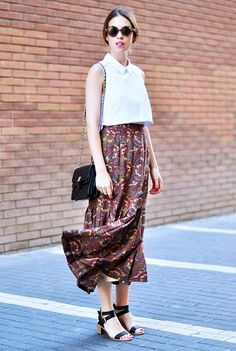 White collared crop top, printed maxi skirt, and ankle strap heels