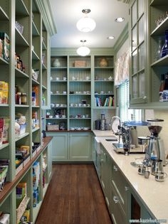 Beautiful organized butler's pantry, wood floors, coffee station, wood counters, beadboard...