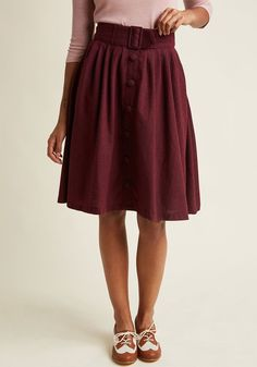 Intern of Fate Midi Skirt in Burgundy in XXS - Full Skirt by ModCloth