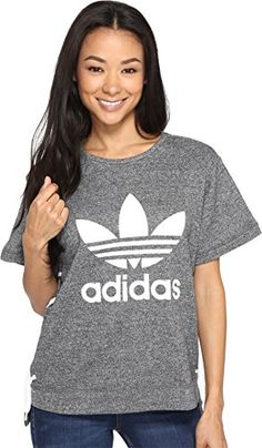 adidas Originals Womens Drawcord Tee Medium Grey Heather TShirt *** For more information, visit image link.-It is an affiliate link to Amazon.
