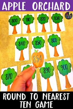 This back to school math center is perfect for the month of September! Third grade students will enjoy this fall game that helps them practice rounding numbers within 1000 to the nearest ten. Uh Oh! All of the apples have fallen off the trees in the apple orchard. Students put each apple on the correct tree it rounds to in the orchard. Great practice for rounding to nearest 10 within 1000. Aligns with 3.NBT.1 for common core and is great as a math center, review, or practice game!