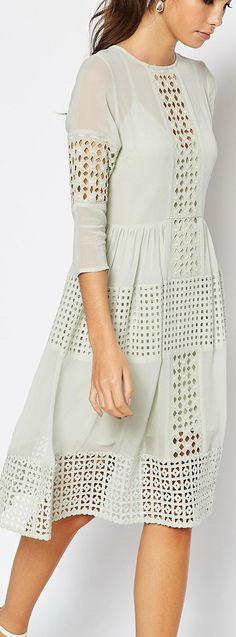 soft mint embroidered cutwork dress