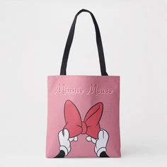 Minnie Mouse Bow with Rainbow Tote Bag , Disney Tote Bags, Bow Shop, Minnie Mouse Bow, Cute Toddlers, Edge Design, Disney Mickey, Digital Illustration, Create Your Own, Reusable Tote Bags