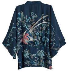 Cardigan Quimono De Seda Estampa Fênix Azul Forrado - R$ 255,00