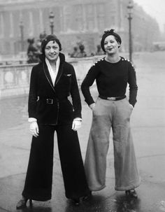 French street fashion 1933. style pants wide leg sportswear casual day sweater blouse jackets hat shoes hair belt 30s found photo women