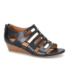 Look what I found on #zulily! Black Ilana Leather Wedge #zulilyfinds