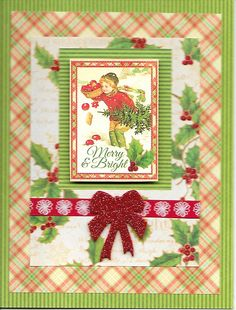 Recollection 50 card pack for card base.  Graphic 45 Twas the Night Before Christmas 8x8 cardstock used to decorate card and foam stick bow.
