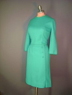 1950s vintage dress 50s BRIGHT MINT GREEN jade by capricornvintage, $93.00