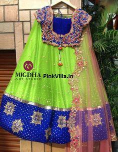 Half Sari with Blue Zardosi Blouse - Saree Blouse Patterns Half Saree Lehenga, Kids Lehenga, Saree Dress, Baby Lehenga, Gown Dress, Bridal Lehenga, Dress Skirt, Half Saree Designs, Blouse Designs Silk