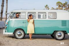 Bride-to-be stands outside vintage Volkswagen bus while Groom-to-be looks at her and drives on beach / just added Vintage Volkswagen Bus, Vw Bus, My Dream Car, Dream Cars, Girls Driving, Cool Vans, Beach Engagement, California Dreamin', Latest Images