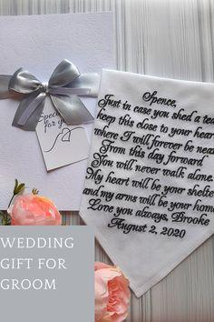 To my groom on our wedding day - custom wedding handkerchief Wedding Gifts For Parents, Wedding Gifts For Groom, Gifts For Fiance, Bride And Groom Gifts, Best Wedding Gifts, Unique Wedding Favors, Bridal Gifts, Our Wedding Day, Wedding Ideas