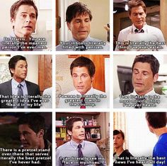 """Chris Traeger """"Literally"""" - Parks and Recreation Parks And Rec Memes, Parks And Recreation, Parcs And Rec, Chris Traeger, Parks Department, Hilarious, Funny, Best Shows Ever, Favorite Tv Shows"""