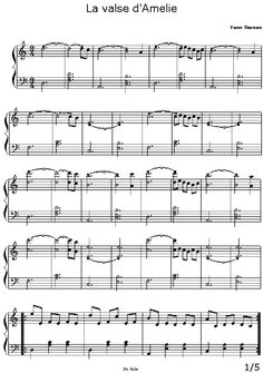 [Sheet Music - Score - Piano] Yann Tiersen - La Valse d'Amelie Poulain One of my favorite themes Amelie, Violin Lessons, Music Lessons, Kalimba, Music Score, Easy Piano, Music Composers, Piano Sheet Music, Teaching Music