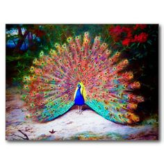 Vintage Peacock Painting Post Card today price drop and special promotion. Get The best buyDiscount Deals Vintage Peacock Painting Post Card Here a great deal. Pretty Birds, Beautiful Birds, Animals Beautiful, Peacock Butterfly, Peacock Art, Peacock Feathers, Peacock Bedroom, Butterfly Canvas, Peacock Colors
