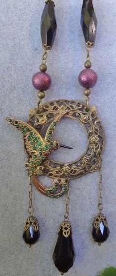 Vintage Hummingbird necklaceSuper by RosebudsnPearls on Etsy