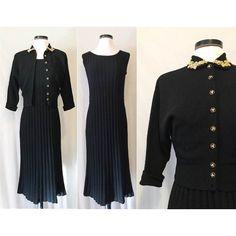 Vintage 1940s / 1950s Wool Bouclé Knit Dress Set // 40s 50s Dress & Matching Cardigan // Black w/ Gold Embellishment, Rhinestones and Pearls