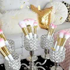 Let the glam gold sparkle!!@nicky.sinclair has us falling in LOVE with her sparkly living room beauties!!The White Glam Brush Book has become every glam girls BFF! #glitterandgold #brushbooks  #slmissglambeauty #pinkglam www.slmissglam.com