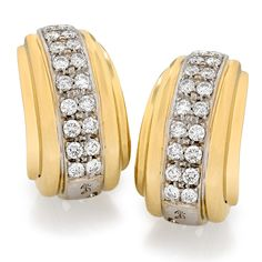 Gold & Diamond Deco Banded Earrings