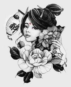 "Chronic Ink tattoo Cindy asian-style tattoo Shuten-dōji ""醉""means tipsy, inebriation. Japanese Geisha Tattoo, Japanese Tattoo Designs, Japanese Art, Japanese Kimono, Tattoo Sketches, Tattoo Drawings, Body Art Tattoos, Girl Tattoos, Japan Tattoo"