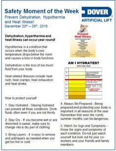 RT Prevent Dehydration, Hypothermia, and Heat Illness! Moment of the Week Safety Moment Ideas, Safety Moment Topics, Workplace Safety Topics, Safety Talk, Safety Meeting, Health And Safety Poster, Safety Posters, Past Exam Papers, Safety Slogans